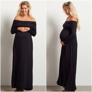 Pinkblush • Black Long Sleeve Maternity Maxi Dress